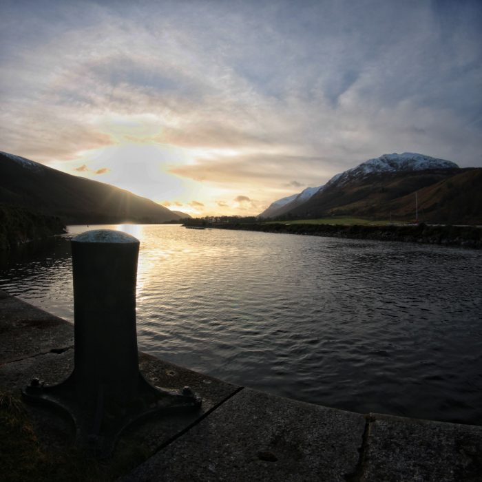 The sunset looking west along Loch Lochy from Laggan Locks on the Great Glen Way