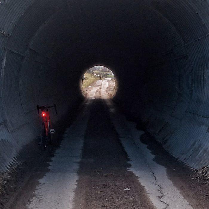 Cycling through a tunnel in Scotland